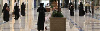 Saudi women shop in a mall in Riyadh.