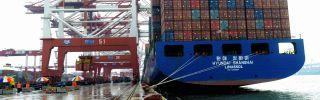 A South Korea freighter anchors at Qingdao, China.