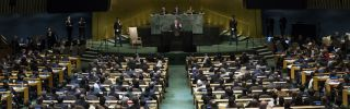 """U.S. President Donald Trump took to the podium today at the U.N. General Assembly in New York to give his first speech at the body of global leaders. The speech -- somewhat reminiscent in tone to his inauguration speech in January -- was Trump's message to the world on what U.S. foreign policy should be under his doctrine of """"America First."""""""
