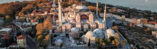 This aerial picture taken on April 25, 2020, shows the Hagia Sophia museum in Istanbul, Turkey.