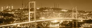 A bridge over the Bosporus in Istanbul, Turkey