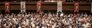Opposition supporters in Turkey await the arrival of their candidate for mayor of Istanbul on May 30, 2019.