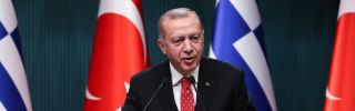 Turkish President Recep Tayyip Erdogan speaks during a news conference in Ankara on Feb. 5, 2019.