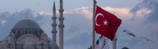 The Turkish flag flies in Istanbul as seagulls soar overhead.