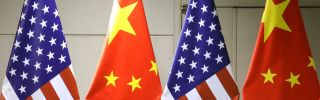 The national flags of China and the United States.
