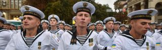 Ukrainian sailors rehearse for a military parade in Kiev during August 2017.