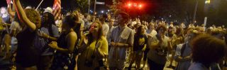 Protesters rally for the removal of a Confederate statue known as Silent Sam from the campus of the University of North Carolina in Chapel Hill on Aug. 22, 2017.