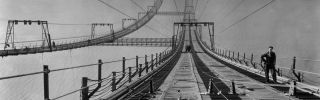 This file photo taken around 1930 shows New York's George Washington Bridge during its construction.