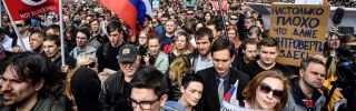 In this photograph, people in Moscow rally for internet freedom during April 2018.