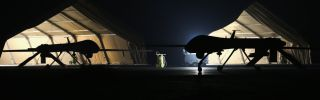 A U.S. Air Force MQ-1B Predator unmanned aerial vehicle returns from a mission to an air base in the Persian Gulf region.