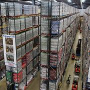 A Tesco distribution plant in December 2014 in Reading, England. In the lead up to Christmas, Tesco's busiest time of the year, 13,000 staff worked around the clock at 28 distribution centers across the United Kingdom.