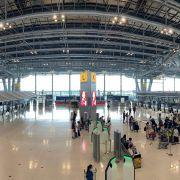 The check-in area on June 30, 2021, at Bangkok Suvarnabhumi Airport.