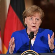 German Chancellor Angela Merkel speaks during a joint press conference at the White House on April 27, 2018, in Washington, D.C.