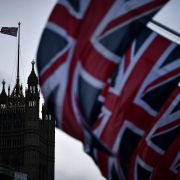 British flags in parliament square on Feb. 1, 2020, in London.