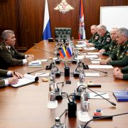 Russian Defense Minister Sergei Shoigu (second from right) and his Venezuelan counterpart, Vladimir Padrino Lopez (second from left), hold a meeting in Moscow.