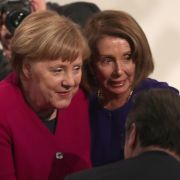 Germany Chancellor Angela Merkel, left, greets U.S. House Speaker Nancy Pelosi on Feb. 15, 2019, during the annual Munich Security Conference in Munich, Germany.