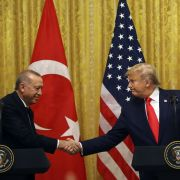 Turkish President Recep Tayyip Erdogan and U.S. President Donald Trump hold a news conference at the White House on Nov. 13, 2019.