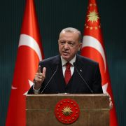 Turkish President Recep Tayyip Erdogan gestures as he gives a press conference in Ankara, Turkey, on September 21, 2020.