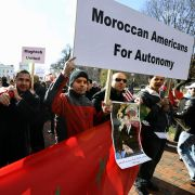 "American supporters of Morocco's ""Autonomy Plan"" for Western Sahara take part in a demonstration in front of the White House in Washington D.C. on Nov. 27, 2010."