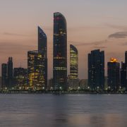 A photo taken in April 2018 shows the Abu Dhabi skyline at sunrise.