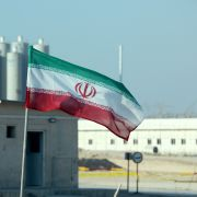 A picture taken on Nov. 10, 2019, shows an Iranian flag at Iran's Bushehr nuclear power plant.