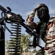 A soldier keeps guard near the Nigerian border in Maradi, Niger.