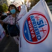 People take part in a rally in support of amending the Chilean constitution in Santiago, Chile, on Oct. 22, 2020.