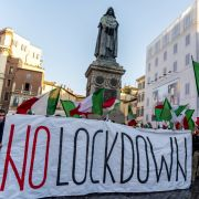 People protest against the reintroduction of COVID-19 lockdown measures in Rome, Italy, on Oct. 31, 2020.