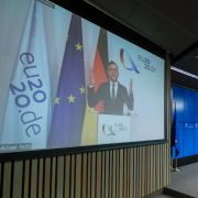 German Minister of State for European Affairs Michael Roth speaks on the screen during a virtual EU press conference in Brussels, Belgium, on Nov. 17, 2020.