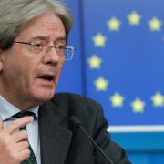 EU Economy Commissioner Paolo Gentiloni speaks during a press conference after a virtual meeting at the European Council in Brussels, Belgium, on Feb. 15, 2021.