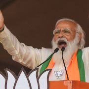 Indian Prime Minister Narendra Modi speaks at a campaign rally for his Bharatiya Janata Party in Kolkata, West Bengal, on March 7, 2021.