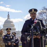Chief of the Metropolitan Police Department Robert Contee speaks during a press briefing on April 2, 2021, in front of the U.S. Capitol in Washington D.C.