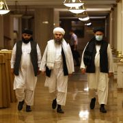 Leaders of the Taliban walk to attend a press conference in Moscow, Russia, on July 9, 2021.