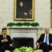 U.S. President Joe Biden (right) meets with Ukrainian President Volodymyr Zelensky in the Oval Office of the White House on Sept. 1, 2021.