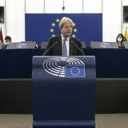 EU Economy Commissioner Paolo Gentiloni addresses the European Parliament in Strasbourg, France, on Oct. 6, 2021.