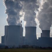 Steam and exhaust rise from a coal-fired power station near Inden, Germany, on Feb. 11, 2021.