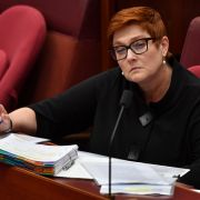 Australian Foreign Minister Marise Payne takes questions during a Senate hearing on Feb. 22, 2021.