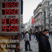 A currency exchange board in Istanbul shows the lira's plummeting value after the unexpected firing of Turkey's central bank chief on March 22, 2021.
