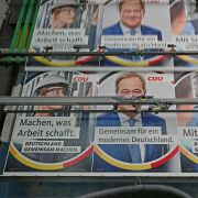 Campaign billboards for the Christian Democratic Union (CDU) candidates running in the September federal election are printed in Schloss Holte-Stukenbrock, Germany, on June 29, 2021.