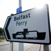 A sign is seen at Stena Line's Irish Sea ferry terminal in Liverpool on Sept. 7, 2021.