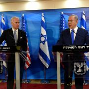 Then-U.S. Vice President Joe Biden (left) listens to Israeli Prime Minister Benjamin Netanyahu talk during a joint press conference in Jerusalem, Israel, on March 9, 2016.