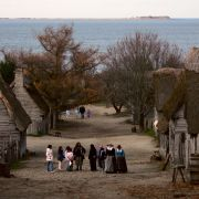 "People visit the 1627 Pilgrim Village at ""Plimoth Plantation,"" where role-players portray pilgrims seven years after the arrival of the Mayflower, in November 2005."