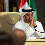 UAE Foreign Minister Sheikh Abdullah Bin Zayedlooks on during a press conference in Abu Dhabi.
