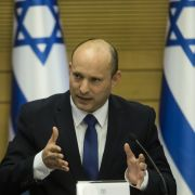 Naftali Bennett attends the first meeting of his new government on June 13, 2021, in Jerusalem.