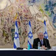 Israeli Prime Minister Benjamin Netanyahu (R) and Alternate Prime Minister and Defense Minister Benny Gantz on May 24, 2020, at a Cabinet meeting of Israel's new unity government at Chagall State Hall in the Knesset in Jerusalem.