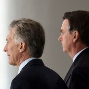 Argentine President Mauricio Macri, left, and Brazilian President Jair Bolsonaro are pictured after a meeting in Brasilia in January 2019.