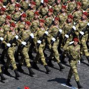 Russian soldiers march during a military parade marking the 75th anniversary of Russia's victory in World War II on June 24, 2020, in Moscow, Russia.