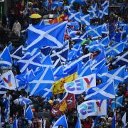 Protesters calling for Scottish independence on Jan. 11, 2020, in Glasgow.