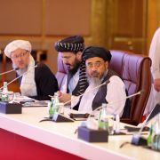 Members of the Taliban participate in talks with the Afghan government on July 18, 2021, in Doha, Qatar.