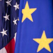 EU and U.S. flags on Feb. 7, 2020, in Washington.